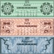 Summer calendar 2014 with mayan ornaments — Stock Vector