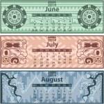 Summer calendar 2014 with mayan ornaments — Stock Vector