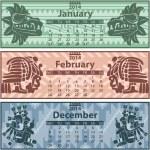 Winter calendar 2014 with mayan ornaments — Stock Vector