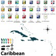 Political map of Caribbean — Stock Vector