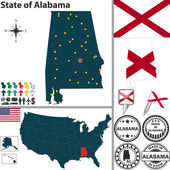 Map of state Alabama, USA — Stock Vector