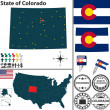 Map of state Colorado, USA — Stock Vector