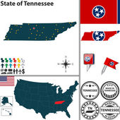 Map of state Tennessee, USA — Stock Vector