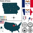 Map of state Iowa, USA — Stock Vector