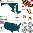 Map of state Maryland, USA — Stock Vector #43536467