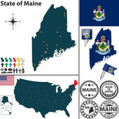 Map of state Maine, USA — Stok Vektör