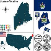 O mapa do estado de maine, eua — Vetorial Stock