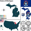 Map of state Michigan, USA — Stock Vector