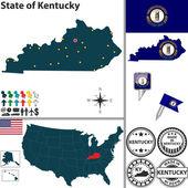 Map of state Kentucky, USA — Stock Vector