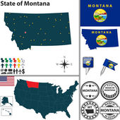 Map of state Montana, USA — Stock Vector
