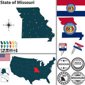 Map of state Missouri, USA — Stock Vector