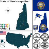 Map of state New Hampshire, USA — Stock Vector