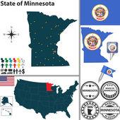 Map of state Minnesota, USA — Stock Vector