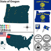 Map of state Oregon, USA — Stock Vector