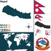 Mapa z nepalu — Wektor stockowy
