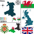 Map of Wales — Stock Vector #48360533