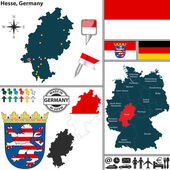 Map of Hesse, Germany — Stock Vector