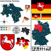 Map of Lower Saxony, Germany — Stock Vector