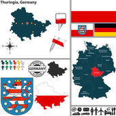 Map of Thuringia, Germany — Stock Vector