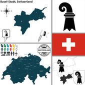 Map of Basel-Stadt, Switzerland — Stock Vector