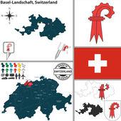 Map of Basel-Landschaft, Switzerland — Stock Vector