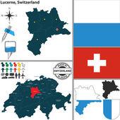 Map of Lucerne, Switzerland — Stock Vector