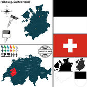 Map of Fribourg, Switzerland — Stock Vector