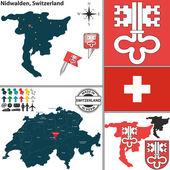 Map of Nidwalden, Switzerland — Stock Vector