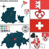 Map of Obwalden, Switzerland — Stock Vector