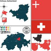 Map of Schwyz, Switzerland — Stock Vector