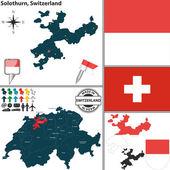 Map of Solothurn, Switzerland — Stock Vector