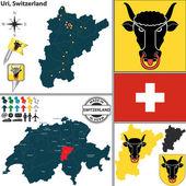 Map of Uri, Switzerland — Stock Vector