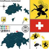 Map of Schaffhausen, Switzerland — Stock Vector