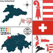 Map of Jura, Switzerland — Stock Vector