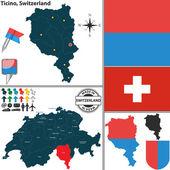 Map of Ticino, Switzerland — Stock Vector