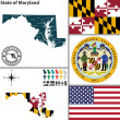 Map of state Maryland, USA — Stock Vector #51404543