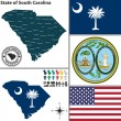 Map of state South Carolina, USA — Stock Vector #51405945