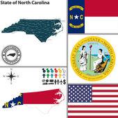 Map of state North Carolina, USA — Stock Vector
