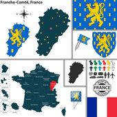 Map of Franche-Comte, France — Stockvektor