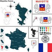 Karta över mayotte, frankrike — Stockvektor