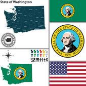 Map of state Washington, USA — Stock Vector