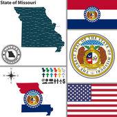 状態のミズーリ州、アメリカ合衆国の地図 — ストックベクタ
