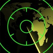 Mapa da europa e áfrica no radar — Fotografia Stock