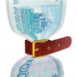 Pack of 1000 ruble banknotes tightly constricted belt — Stock Photo