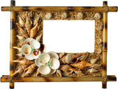 Photoframework from sea cockleshells and pearl — Foto Stock