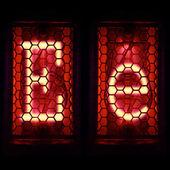 "Nixie tube indicator set of letters the whole alphabet. The letter ""E"". — Stock Photo"