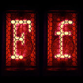 "Nixie tube indicator set of letters the whole alphabet. The letter ""F"". — Stock Photo"