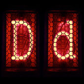 """Nixie tube indicator set of letters the whole alphabet. The letter """"D"""". — Stock Photo"""