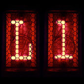 """Nixie tube indicator set of letters the whole alphabet. The letter """"L"""". — Stock Photo"""