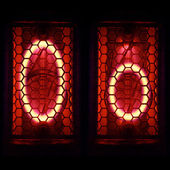 "Nixie tube indicator set of letters the whole alphabet. The letter ""O"". — Stock Photo"